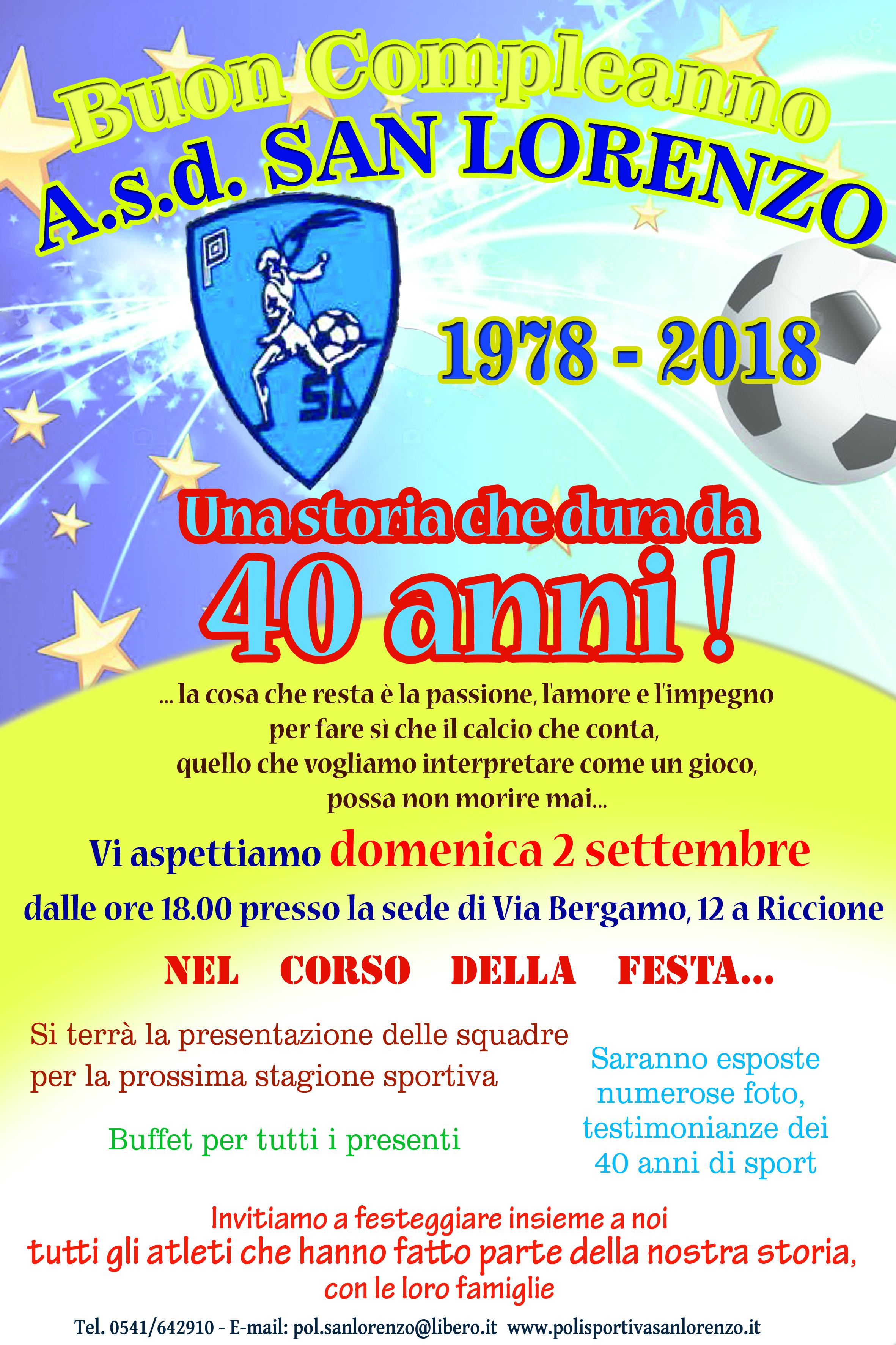 2 Settembre 2018 Festa Del Nostro 40 Compleanno Polisportiva San